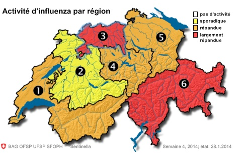 Map of flu cases in Switzerland provided by the public health office
