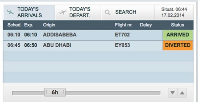 Geneva airport's website screen shot