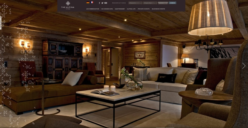 Screen image of one of the rooms of the Alpina Hotel Suite where the Royals are staying