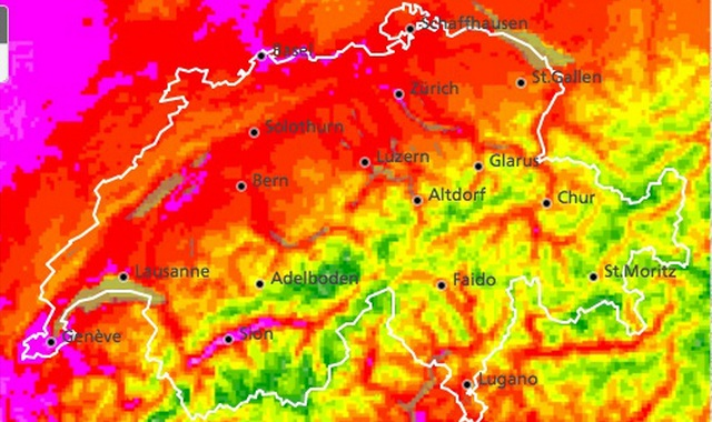 This heat radar map provided by MeteoSwiss indicates (in violet) the hottest spots in western Switzerland, namely: Geneva, Basel and Sion.