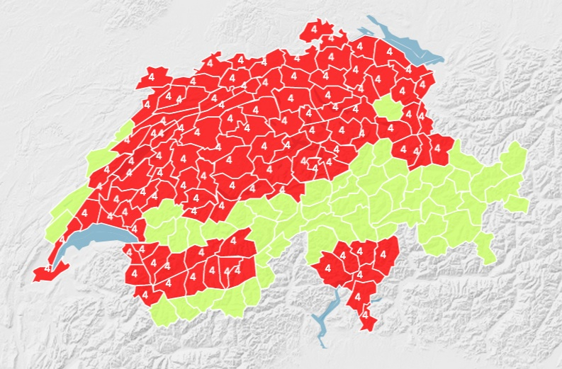 Map Swiss heat wave forecast