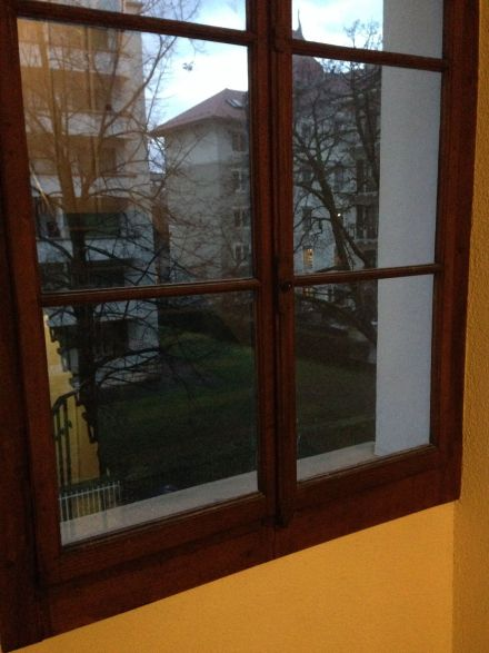 Beautiful single pane/brass fit cedar framed windows remaining in building.