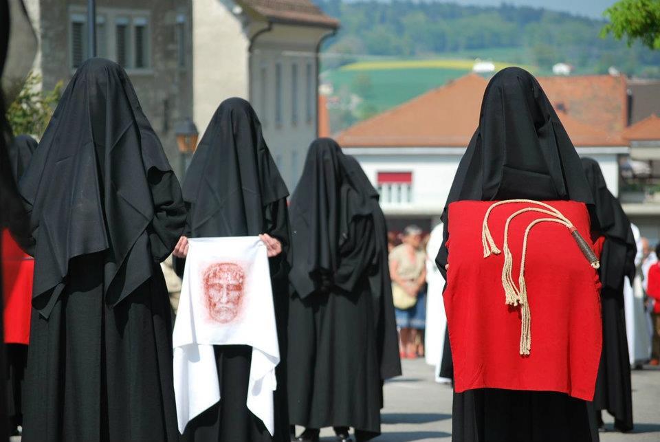 Romont weeping women good friday in switzerland