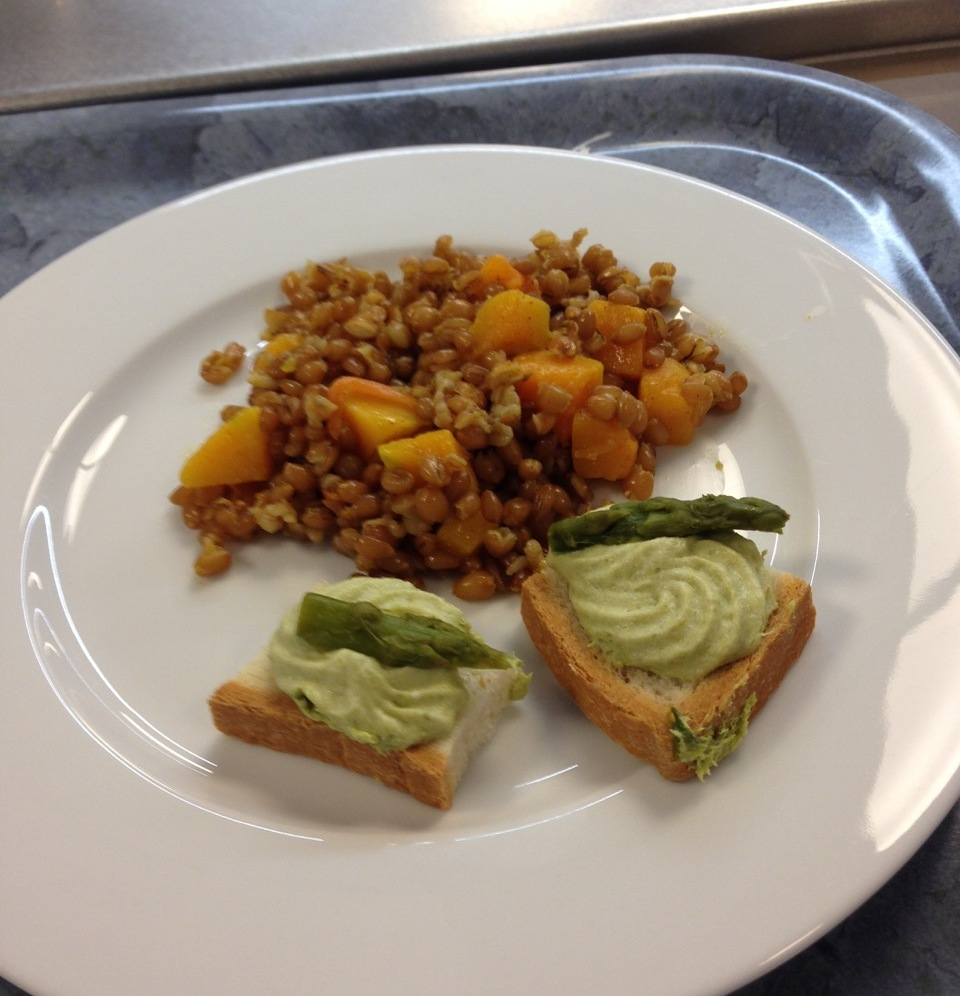 Curried quinoa with sweet potato salad