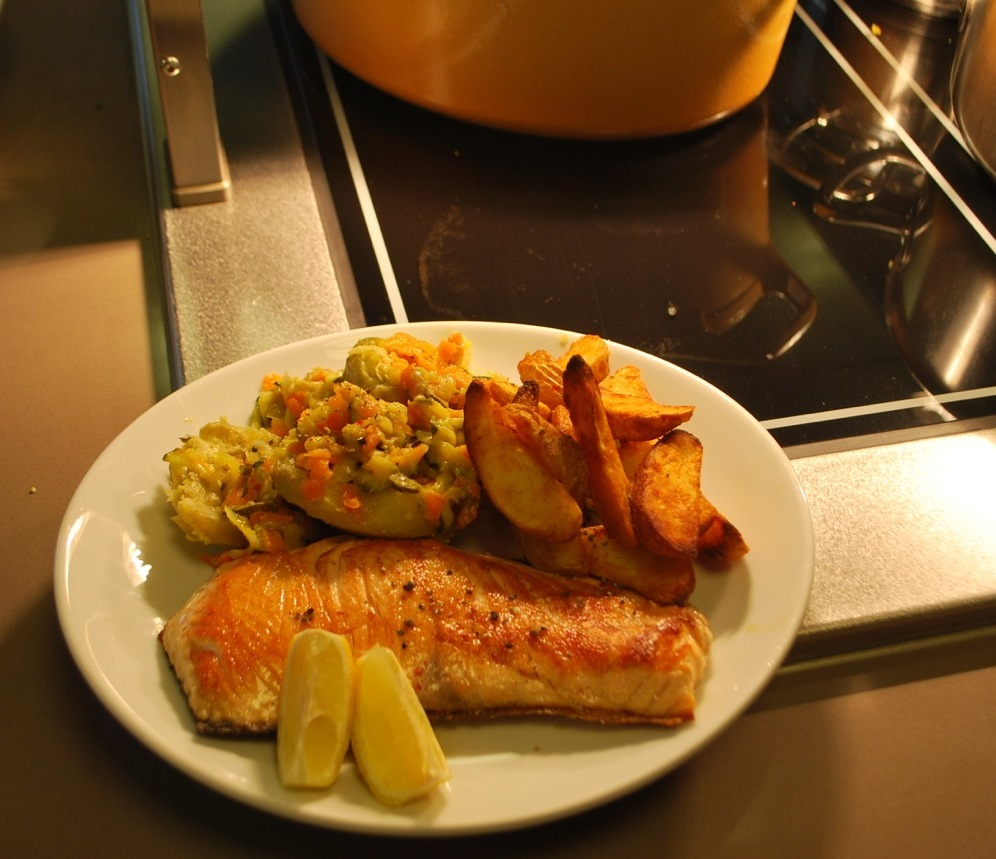 ASC salmon filet with Takinoa's must have baked home fries and artichoke carrot salad side...'nuff said.